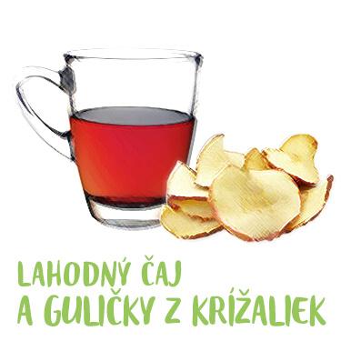 Lahodný čaj a guličky z krížaliek