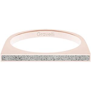 Gravelli Oceľový prsteň s betónom One Side bronzová / sivá GJRWRGG121 56 mm