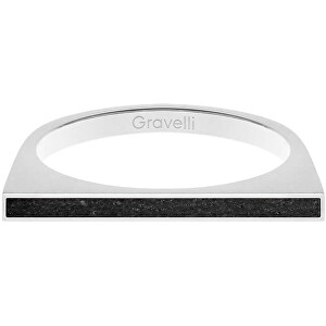Gravelli Oceľový prsteň s betónom One Side oceľová / antracitová GJRWSSA121 56 mm