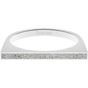 Gravelli Oceľový prsteň s betónom One Side oceľová / sivá GJRWSSG121 56 mm