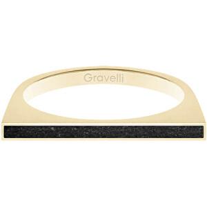 Gravelli Oceľový prsteň s betónom One Side zlatá / antracitová GJRWYGA121 56 mm