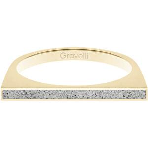 Gravelli Oceľový prsteň s betónom One Side zlatá / šedá GJRWYGG121 56 mm