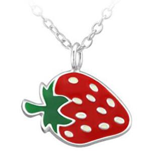 JVD Strieborný náhrdelník s jahodou SVLN0393SH2JA38