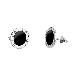 Lotus Silver Elegantné strieborné náušnice s čiernym stredom LP1299-4 / 4