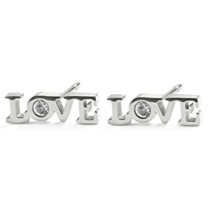 S`Agapõ Oceľové náušnice LOVE SCK74