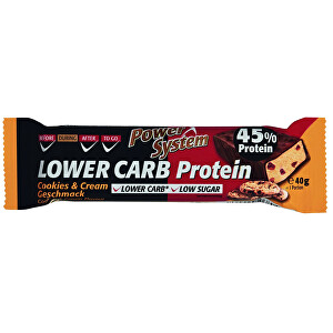 Power System LOWER CARB Cookies  Cream Bar with 45 percent Protein 40 g