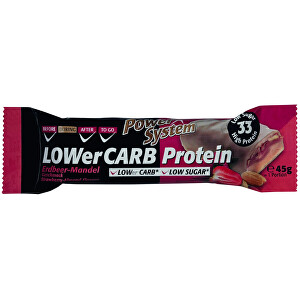 Power System LOWER CARB Protein Bar 33 percent Straw. Almond White Chocol. 45 g
