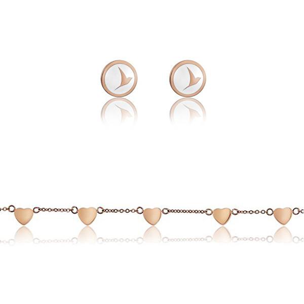 Emily Westwood Sada oceľových šperkov WS028R (náušnice, náramok).