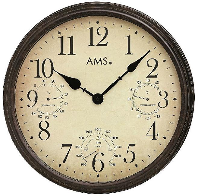 AMS Design Nástěnné hodiny s teploměrem, barometrem a vlhkoměrem 9463