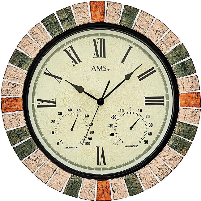 AMS Design Nástěnné hodiny s teploměrem a vlhkoměrem 9620