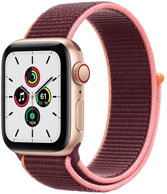 Apple Apple Watch SE GPS + Cellular, 40mm Gold Aluminium Case with Plum Sport Loop