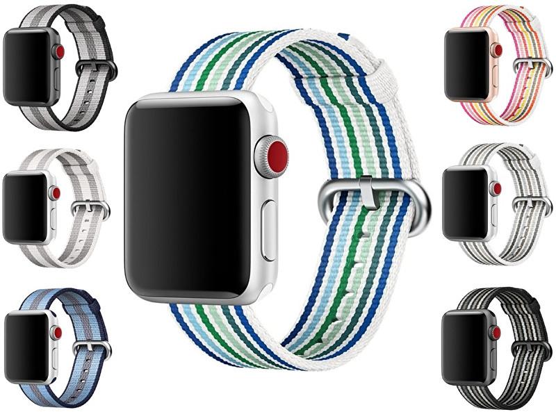 Apple Nylonový řemínek proužkovaný 38 mm černošedý - SLEVA