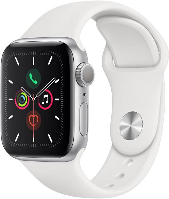 Apple Watch Series 5 44mm strieborný hliník s bielym športovým remienkom