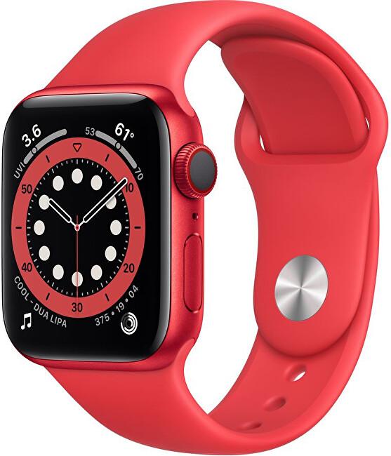 Apple Watch Series 6 40mm červený hliník s červeným sportovním řemínkem