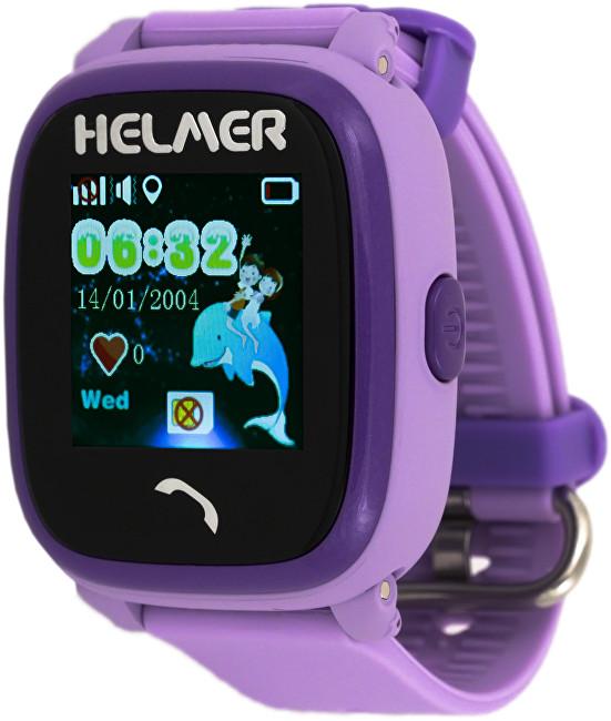 Helmer Chytré dotykové vodotěsné hodinky s GPS lokátorem LK 704 fialové - SLEVA
