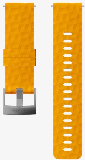 Suunto Silikonový řemínek k hodinkám Suunto 9, 9 Baro, Suunto 7 a Suunto Spartan Sport, Spartan Sport HR SS050012000 žlutý se stříbrnou sponou