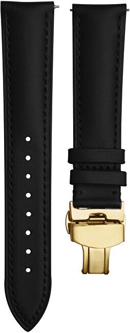 4wrist Kožený elegantní řemínek - Černý s růžově zlacenou sponou 18 mm