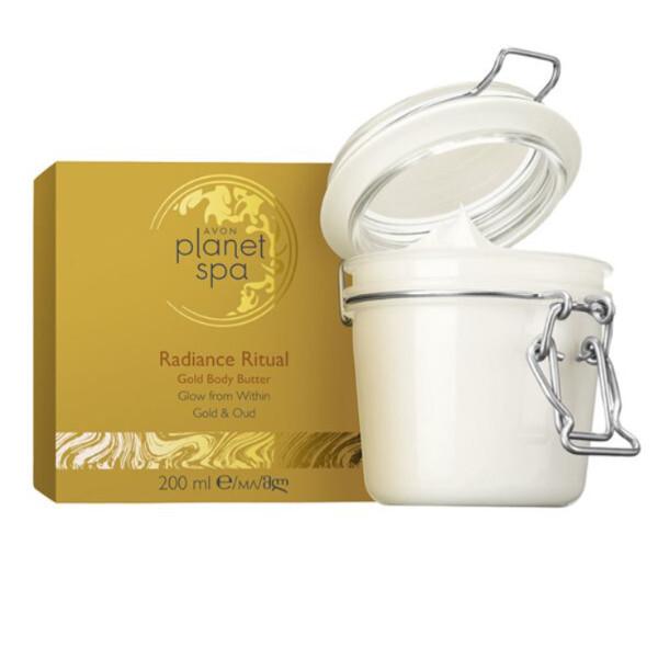 Avon Rozjasňující tělový krém se zlatými částečkami Planet Spa Radiance Ritual (Golden Body Butter) 200 ml