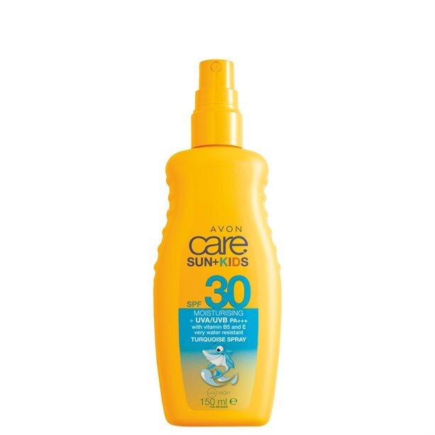 Avon Vodeodolný tyrkysový sprej na opaľovanie pre deti SPF 30 Sun+ Kids 150 ml