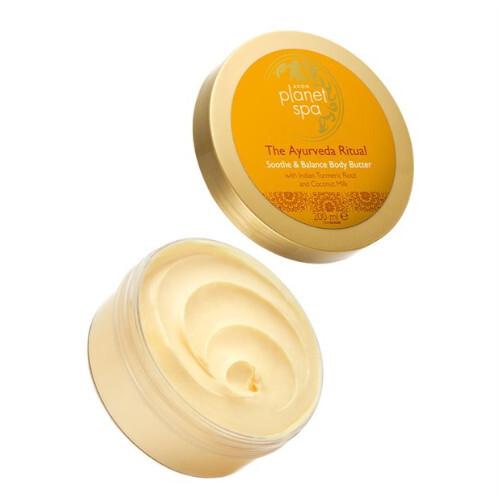 Avon Zklidňující tělové máslo s kurkumou a kokosovým mlékem The Ayurveda Ritual (Soothe & Balance Body Butter) 200 ml