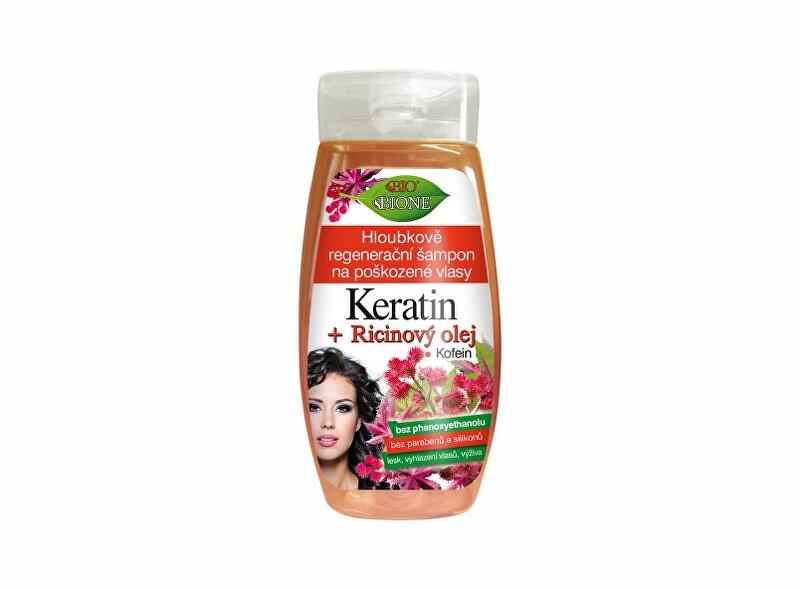 Bione Cosmetics Hĺbkovo regeneračný šampón na poškodené vlasy Keratin + Ricinový olej 260 ml