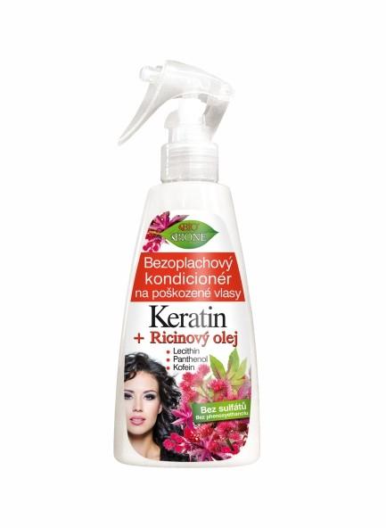 Bione Cosmetics Regenerační bezoplachový kondicionér na poškozené vlasy Keratin + Ricinový olej 260