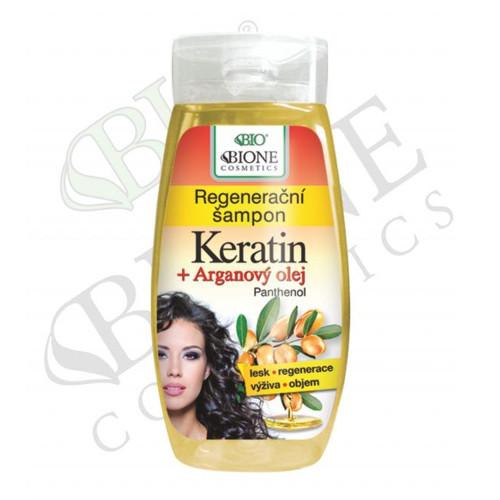 Bione Cosmetics Regeneračný šampón Keratin + Arganový olej s panthenolom 260 ml