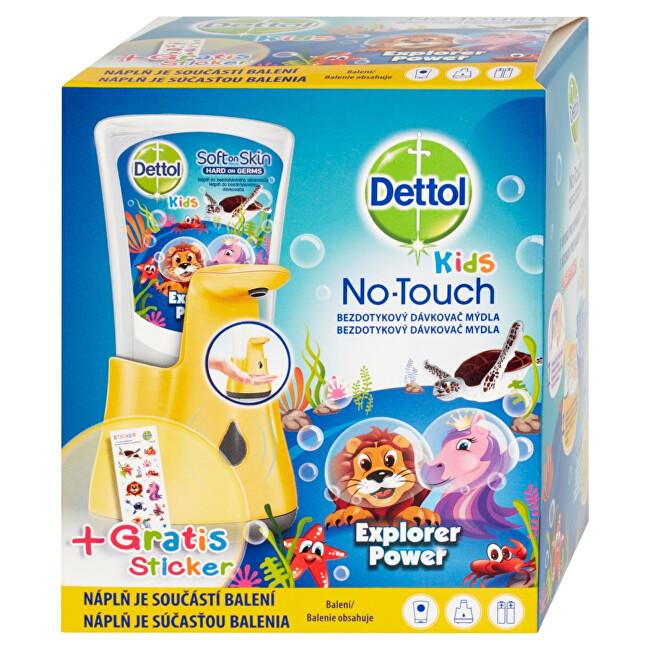 Dettol Bezdotykový dávkovač mydla pre deti Kids Le Zoo + tekuté mydlo Dobrodruh 250 ml