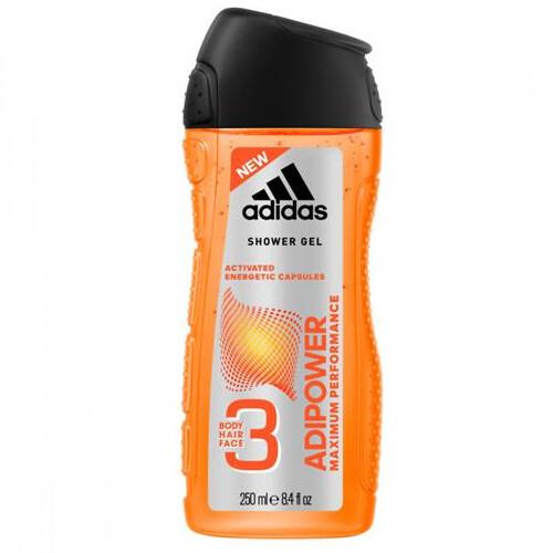 Adidas Sprchový gél 3 v 1 pre mužov Adipower (Shower Gel Body Hair Face) 250 ml