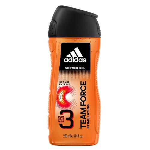 Adidas Sprchový gél 3 v 1 pre mužov Team Force (Shower Gel Body Hair Face) 250 ml
