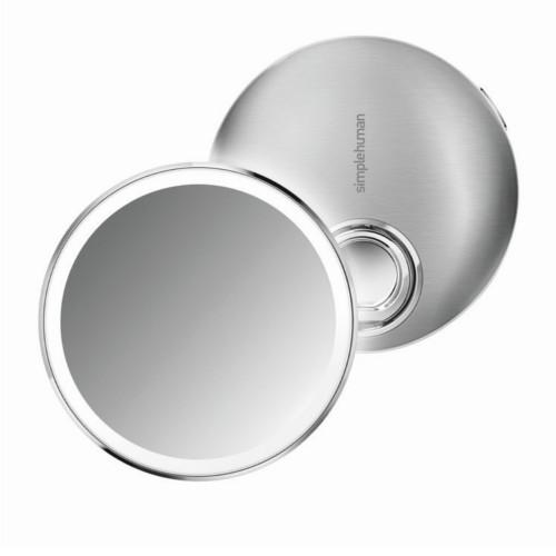 Simplehuman Vreckové dobíjacie kozmetické zrkadielko Sensor Compact s LED osvetlením, 3x zväčšenie - ZĽAVA - chýba ochranný prelepte černá nerez ocel