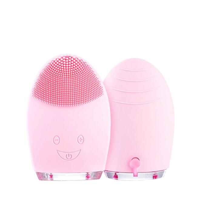 Palsar 7 Kulatý elektrický masážní kartáček na čištění pleti (Facial Cleansing Massage Brush Silicone Rechargeable Brush) Světle růžový