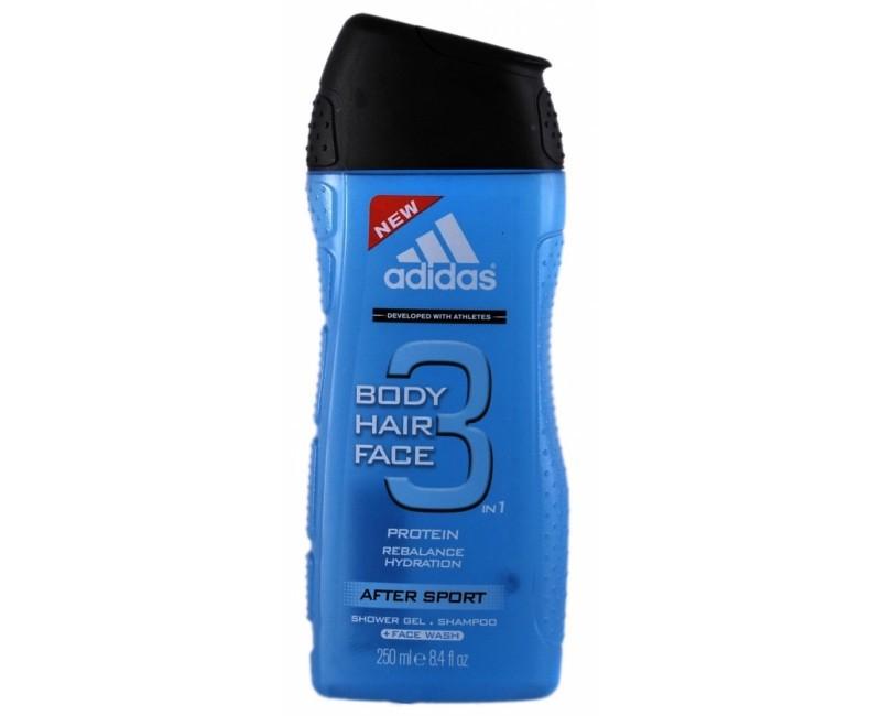 Adidas Sprchový gél a šampón pre mužov 3 v 1 Body Hair Face After Sport (Shower Gel & Shampoo) 250 ml