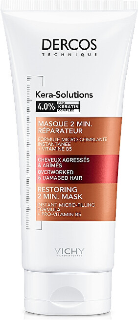 Vichy Maska pro obnovu poškozených vlasů Derkos Kera-Solutions (Restoring 2 Min Mask) 200 ml