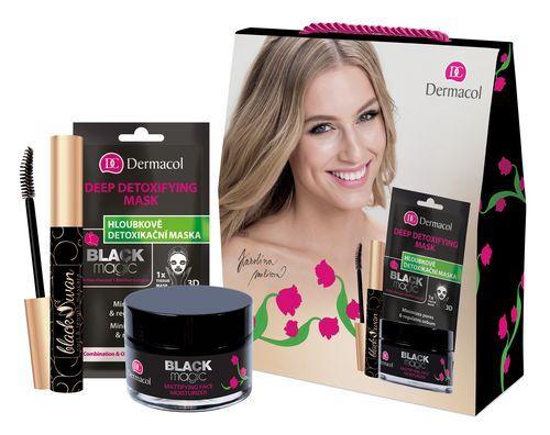 Dermacol Black Magic pro ženy zmatňující hydratační gel 50 ml + čisticí maska Deep Detoxifying 1 ks + řasenka Black Swan 10 ml dárková sada