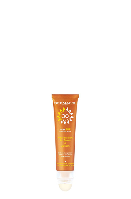 Dermacol Pleťový krém na opalování a balzám na rty Sun SPF 30 (Water Resistant Cream and Lip Balm) 30 ml + 3,2 g