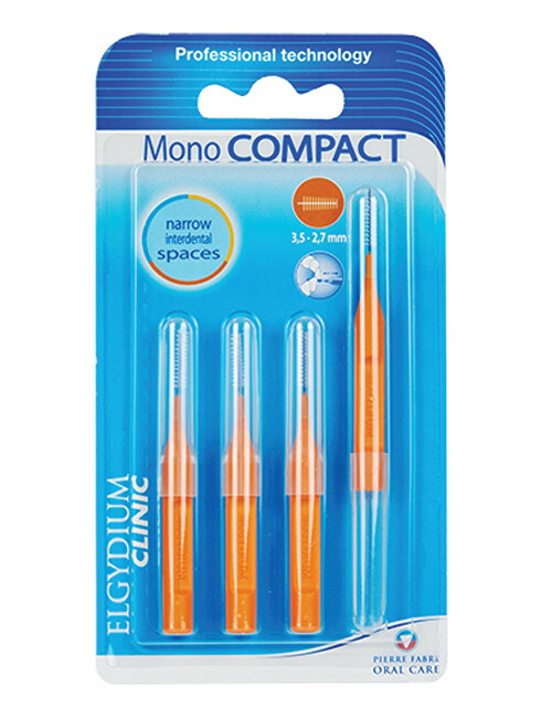 ELGYDIUM Medzizubné kefky oranžové Mono Compact (3,5-2,7 mm) 4 ks