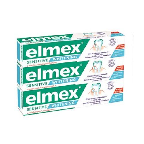 Elmex Bieliace zubná pasta pre citlivé zuby Sensitive Whitening Trio 3x 75 ml