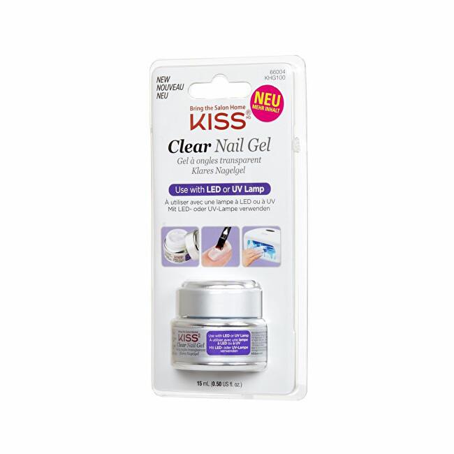 KISS UV / LED gél na nechty priehľadný (Clear Nail Gel) 15 ml