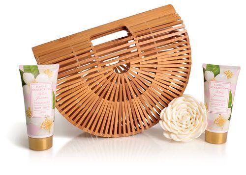 Lady Cotton Sada telovej kozmetiky jazmín v bambusovej košíku (White Jasmine Bath Set in bamboo basket)