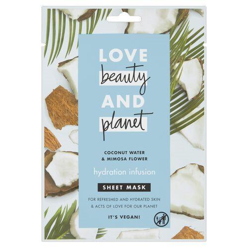 Love Beauty and Planet Textilní hydratační pleťová maska s kokosovou vodou a květy mimózy (Hydration Infusion Sheet Mask) 1 ks
