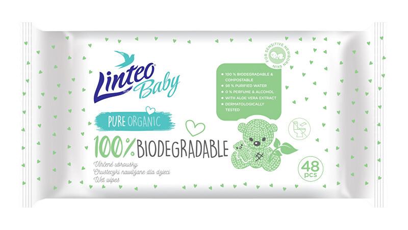 Linteo Vlhčené obrúsky Baby 100% biodegradable 48 ks