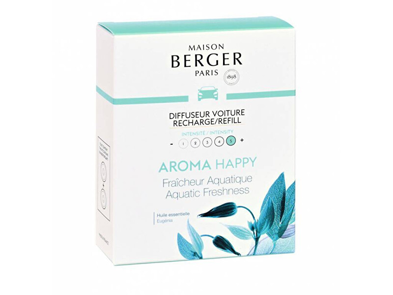 Maison Berger Paris Náhradní náplň do difuzéru do auta Aroma Happy Svěžest vody Aquatic Fresheness (Car Diffuser Recharge/Refill) 2 ks