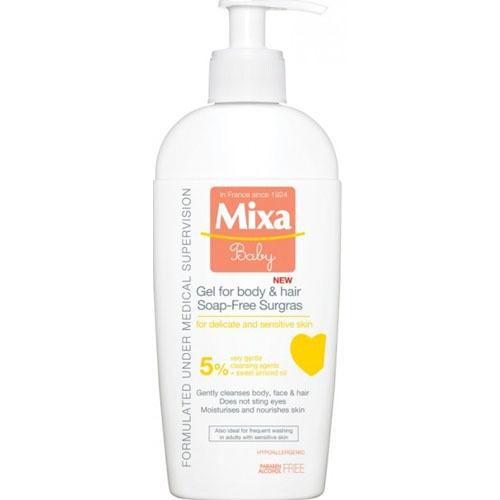 Fotografie Mixa Extra vyživující mycí Baby gel na tělo a vlásky 5% 400 ml