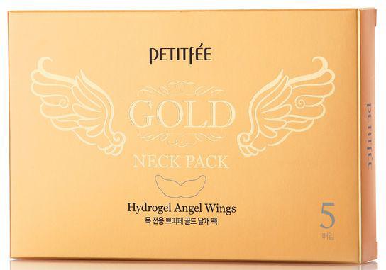 Petitfée Hydrogelová maska na krk se zlatem Gold Neck Pack (Hydrogel Angel Wings) 5 ks