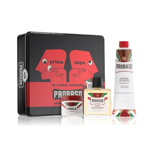 Proraso Red Vintage Primadopo krém na holenie 150 ml + Proraso krém pred holením 100 ml + Proraso voda po holení s vôňou santálového dreva 100 ml darčeková sada
