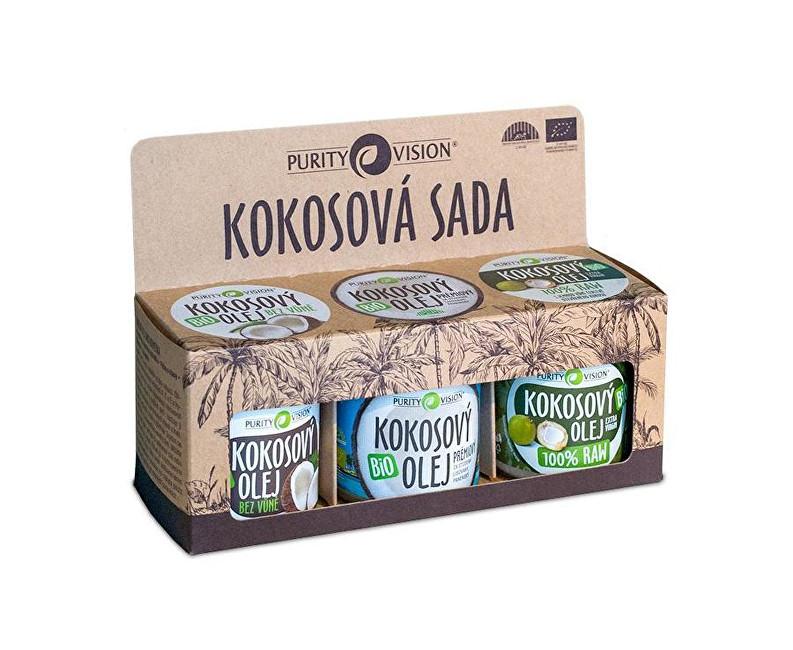 Purity Vision Kokosová sada (Raw kokosový olej, Panenský kokosový olej, Kokosový olej bez vůně)