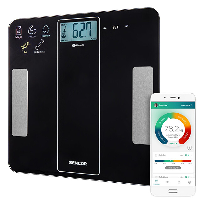 Sencor Osobná fitness váha s bluetooth SBS 8000BK