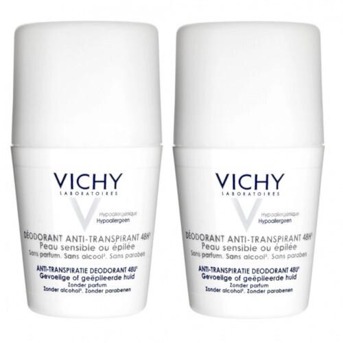 Vichy 48 hodinový dezodorant roll-on pre citlivú a podráždenú pokožku 2 x 50 ml