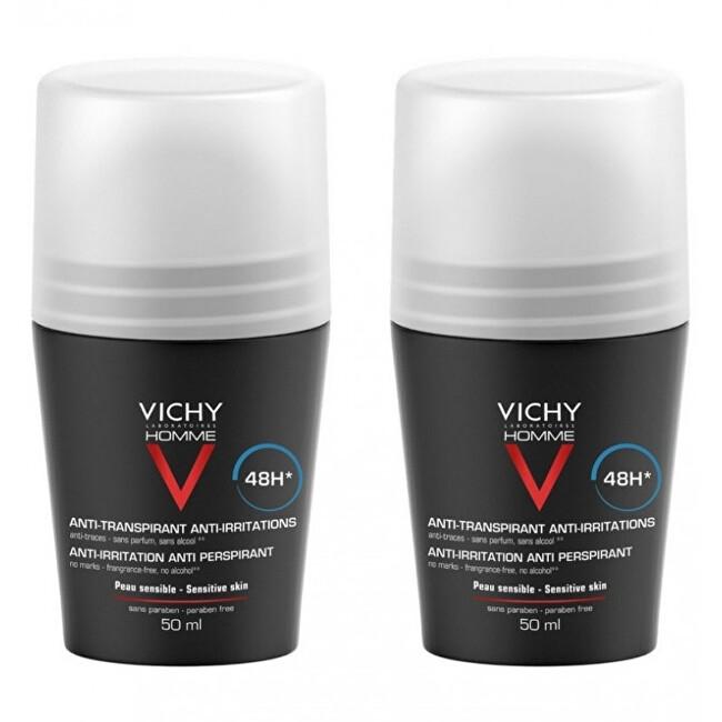 Vichy Deodorant pre citlivú pokožku Homme 48H Deo roll-on (Anti-Transpirant Extra Sensitive) 2 x 50 ml